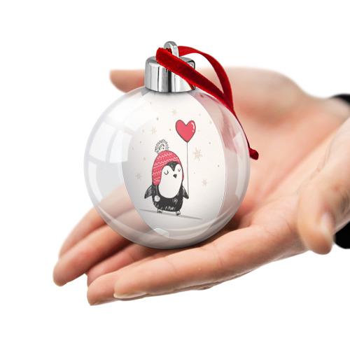Ёлочный шар Пингвин с шариком Фото 01