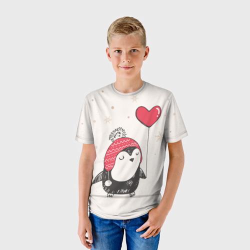 Детская футболка 3D Пингвин с шариком