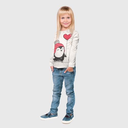 Детский лонгслив 3D Пингвин с шариком Фото 01