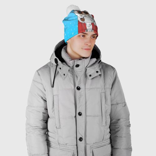 Шапка 3D c помпоном  Фото 02, Дед мороз