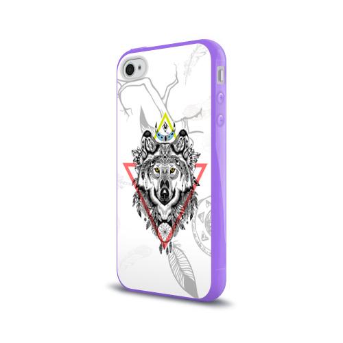 Чехол для Apple iPhone 4/4S силиконовый глянцевый  Фото 03, Волк
