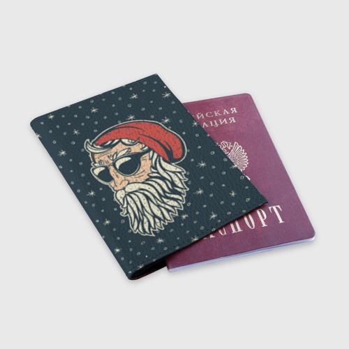 Обложка для паспорта матовая кожа Санта хипстер Фото 01