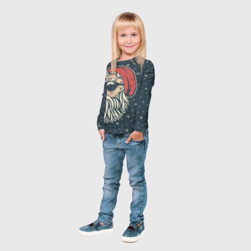 Детский лонгслив 3D  Фото 04, Санта хипстер