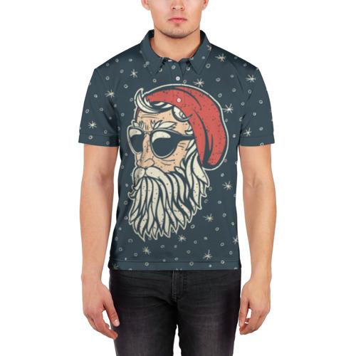 Мужская рубашка поло 3D  Фото 03, Санта хипстер