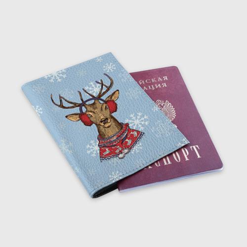 Обложка для паспорта матовая кожа Олень Фото 01