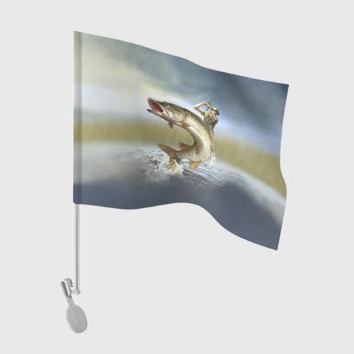 Флаг для автомобиля Щука Фото 01