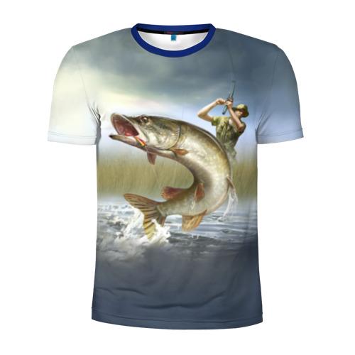 Мужская футболка 3D спортивная Щука