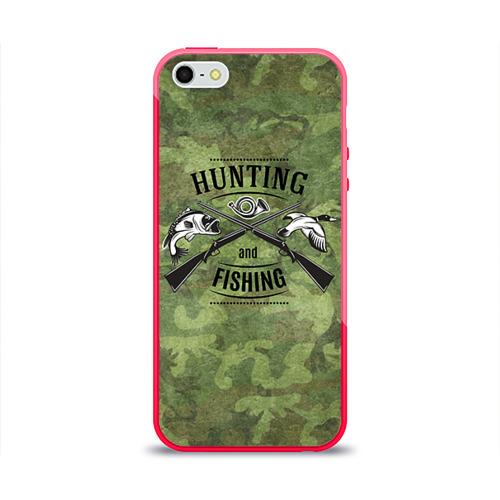 Чехол для Apple iPhone 5/5S силиконовый глянцевый Охота и рыбалка