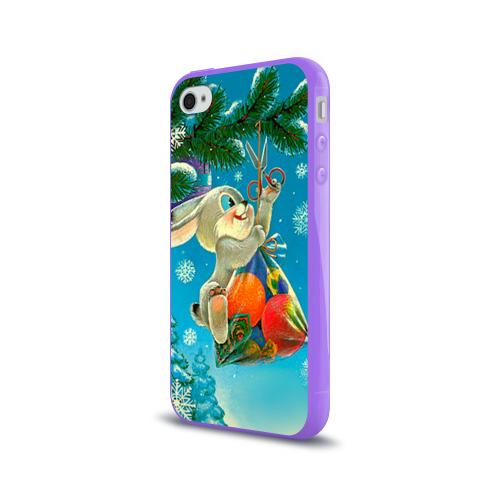 Чехол для Apple iPhone 4/4S силиконовый глянцевый  Фото 03, Заяц с подарком