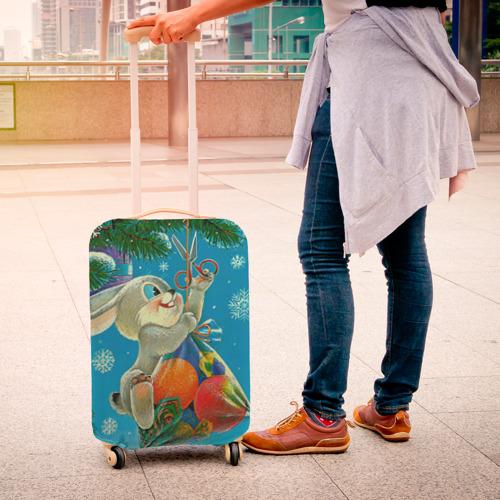 Чехол для чемодана 3D Заяц с подарком Фото 01