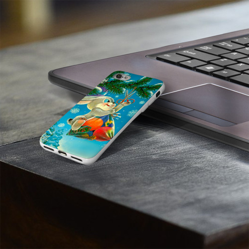Чехол для Apple iPhone 8 силиконовый глянцевый  Фото 03, Заяц с подарком