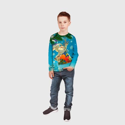 Детский лонгслив 3D  Фото 05, Заяц с подарком