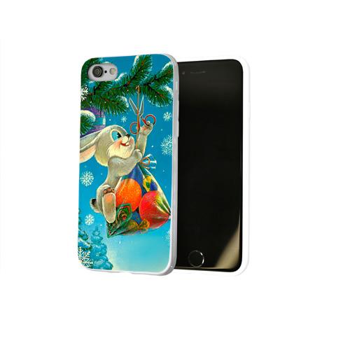 Чехол для Apple iPhone 8 силиконовый глянцевый  Фото 02, Заяц с подарком
