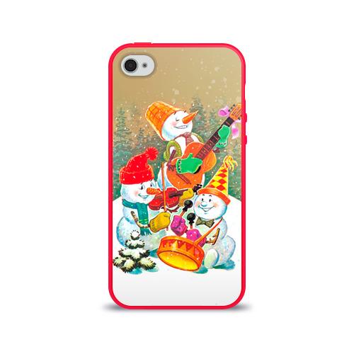 Чехол для Apple iPhone 4/4S силиконовый глянцевый Снеговики от Всемайки