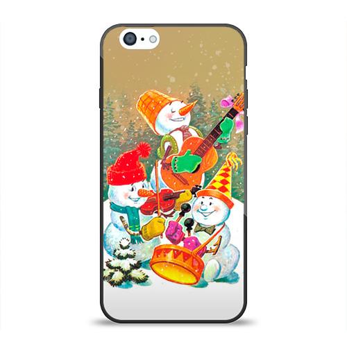 Чехол для Apple iPhone 6 силиконовый глянцевый Снеговики от Всемайки