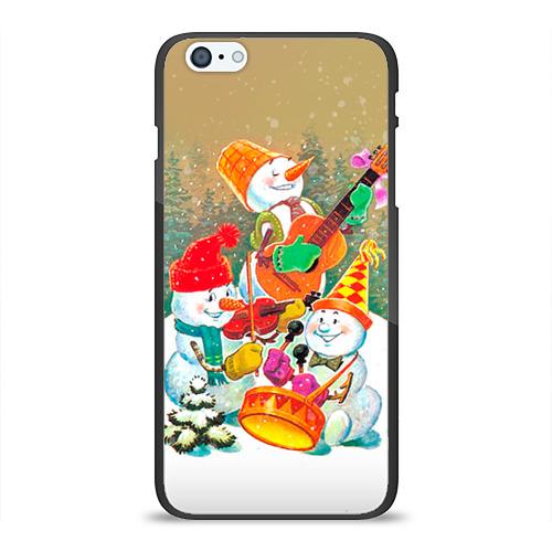 Чехол для Apple iPhone 6/6S Plus силиконовый глянцевый Снеговики от Всемайки