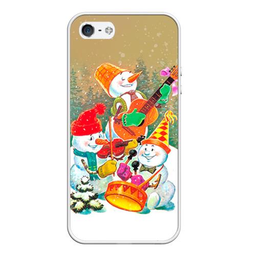Чехол для Apple iPhone 5/5S силиконовый Снеговики от Всемайки