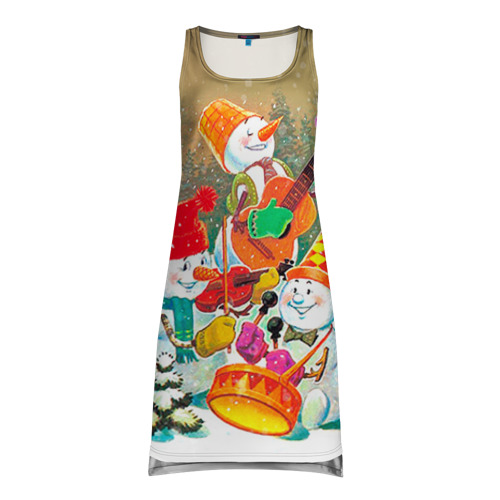 Платье-майка 3D Снеговики