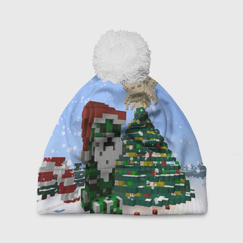 Шапка 3D c помпоном  Фото 01, Minecraft
