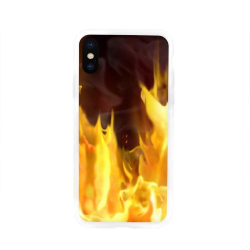 Чехол для Apple iPhone X силиконовый глянцевый  Фото 01, Огонь