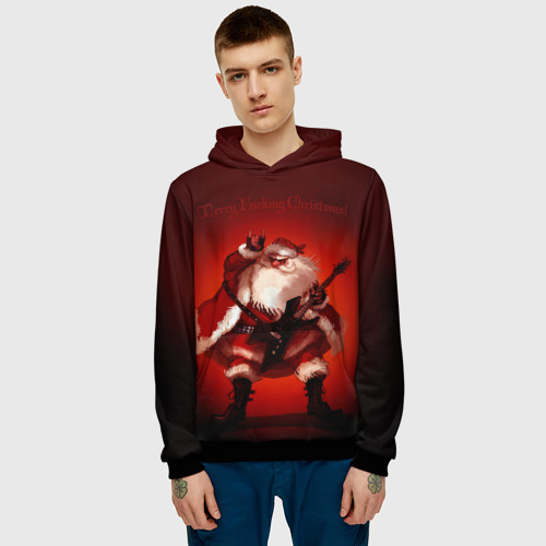Мужская толстовка 3D Дед Мороз рокер Фото 01