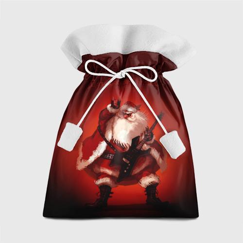 Подарочный 3D мешок Дед мороз рокер