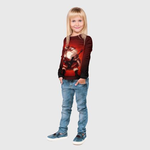 Детский лонгслив 3D  Фото 04, Дед мороз рокер