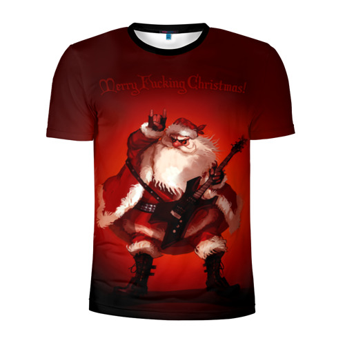 Мужская футболка 3D спортивная Дед мороз рокер Фото 01