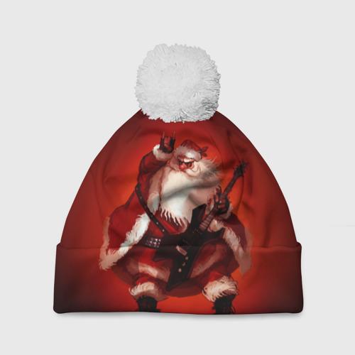 Шапка 3D c помпоном Дед мороз рокер