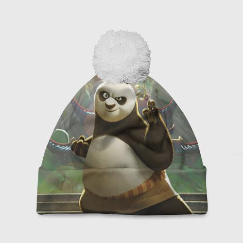 Шапка 3D c помпоном  Фото 01, Кунг фу панда