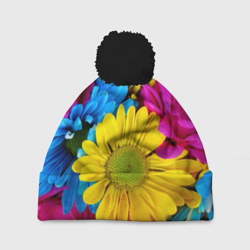 Шапка 3D c помпоном Цветы
