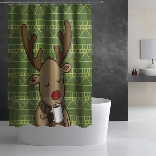 Штора 3D для ванной Олень с кружкой Фото 01