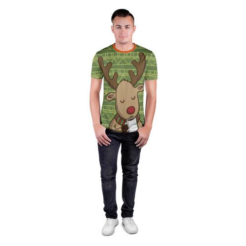 Мужская футболка 3D спортивная Олень с кружкой Фото 01