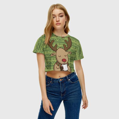 Женская футболка Crop-top 3D Олень с кружкой Фото 01