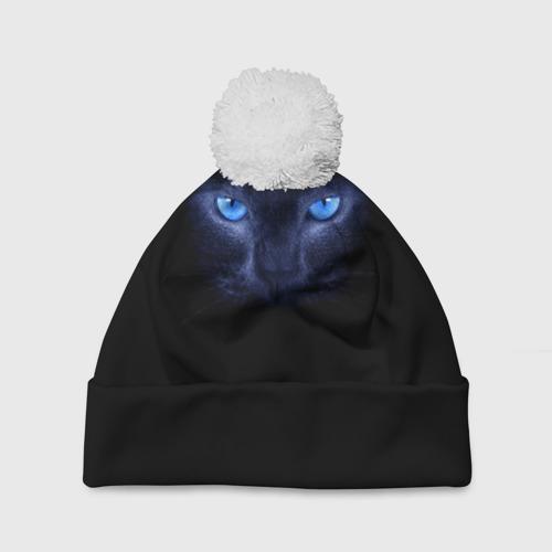 Шапка 3D c помпоном Кошка с голубыми глазами