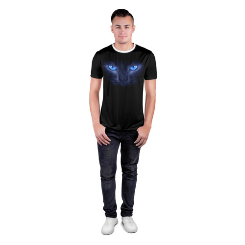 Мужская футболка 3D спортивная  Фото 04, Кошка с голубыми глазами