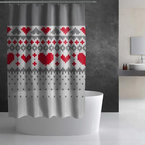 Штора 3D для ванной  Фото 03, Сердечки