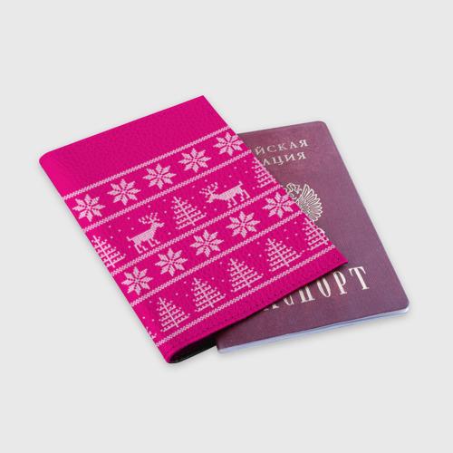 Обложка для паспорта матовая кожа Олени в горах Фото 01