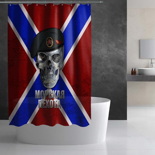 Штора 3D для ванной  Фото 03, Морская пехота