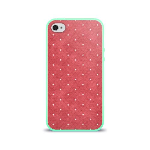 Чехол для Apple iPhone 4/4S силиконовый глянцевый Сердечки Фото 01