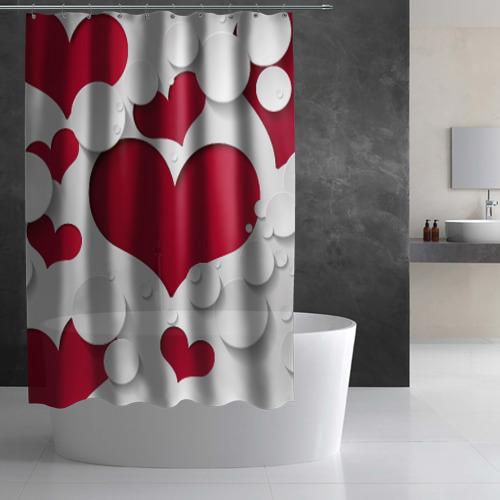 Штора 3D для ванной Сердца Фото 01