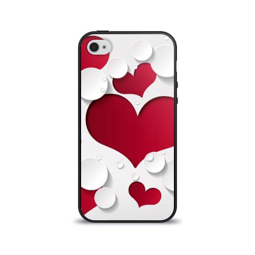 Чехол для Apple iPhone 4/4S силиконовый глянцевый  Фото 01, Сердца