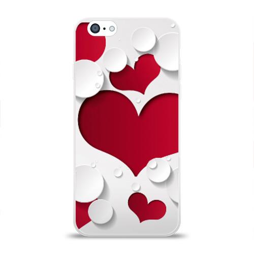 Чехол для Apple iPhone 6 силиконовый глянцевый Сердца