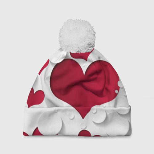 Шапка 3D c помпоном Сердца