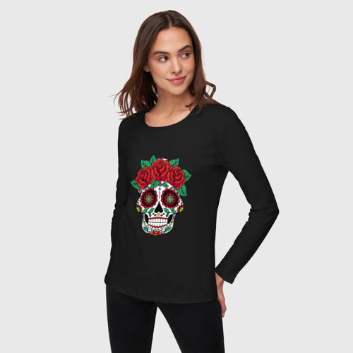 Женский лонгслив хлопок  Фото 03, Мексиканский череп для нее