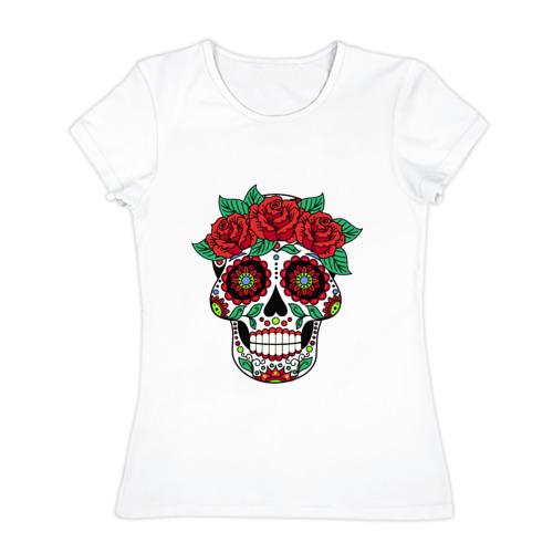 Женская футболка хлопок Мексиканский череп для нее