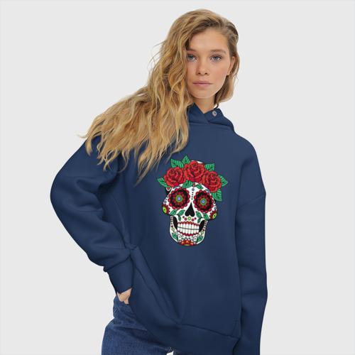 Женское худи Oversize хлопок Мексиканский череп для нее Фото 01