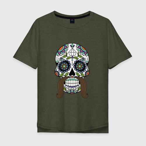 Мужская футболка хлопок Oversize Мексиканский череп для него Фото 01