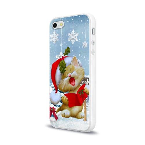 Чехол для Apple iPhone 5/5S силиконовый глянцевый  Фото 03, Новогодний котёнок