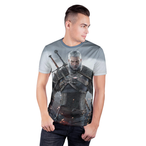 Мужская футболка 3D спортивная  Фото 03, Ведьмак Геральт